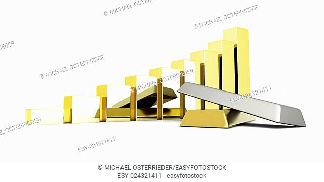 Rising value of precious metals. 3D rendered Illustration. Isolated on white
