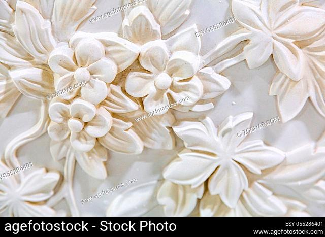 Moscow, Russia - September 07, 2020: Products of the Dikart gypsum stucco moulding plant