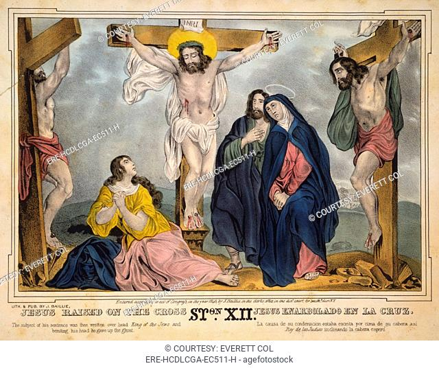 Jesus Christ, Jesus raised on the cross, Mary second from right, mourns below, James S. Baillie, lithograph, circa 1846