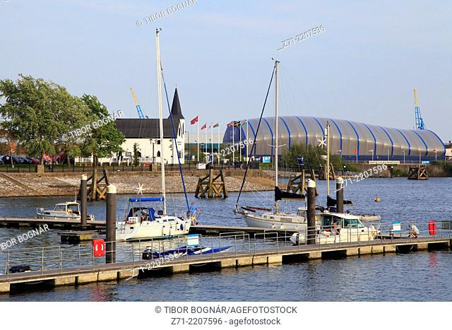 UK, Wales, Cardiff, Bay, boats, Norwegian Church, Doctor Who Experience,