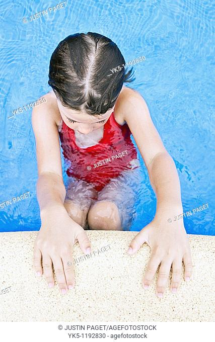 Shot of a Young Child Poolside