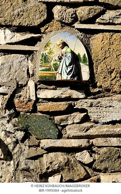 Ceramic tile with an image of Maria praying, Appian Way, Via Appia Antica, Rome, Lazio region, Italy, Europe