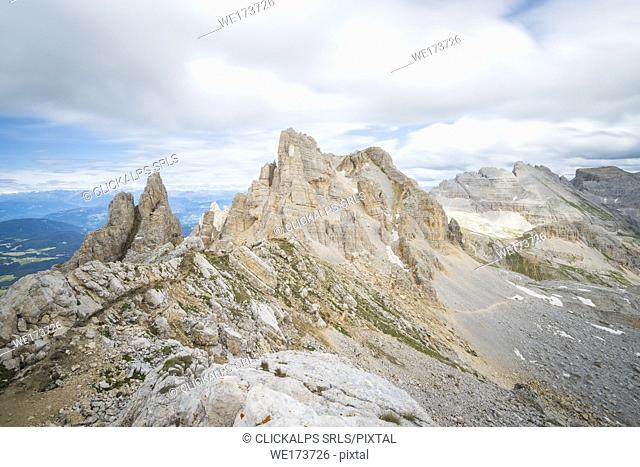 Cima di Valsorda and Cima di Valbona seen from Refuge Torre di Pisa / Torre di Pisa Hutte, Val d'Ega / Eggental, Dolomites, Province of Bolzano, South Tyrol