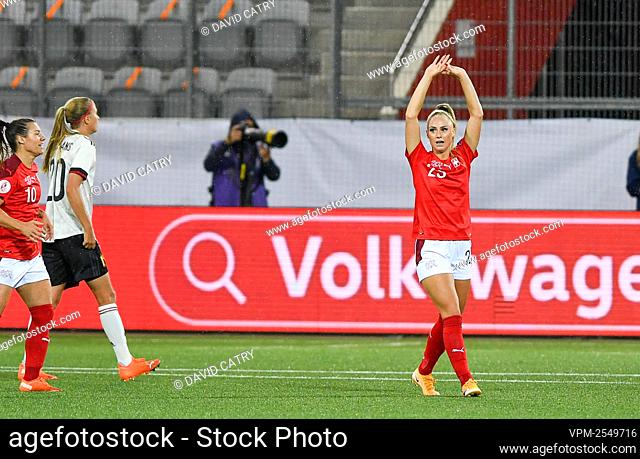 Switzerland's Alisha Lehmann celebrates after scoring during a soccer game between Switzerland and Belgium's Red Flames, Tuesday 22 September 2020 in Thun