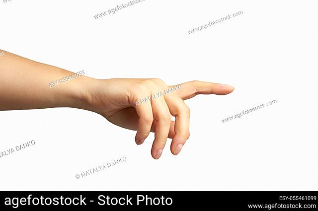 female hand with raised forefinger isolated on white background, part of the body is touching something
