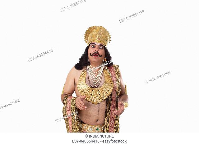 Man dressed as Raavan looking shocked