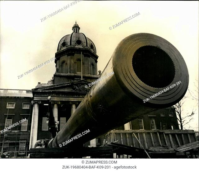 Apr. 04, 1968 - Huge Naval gun outside Imperial War Museum: View showing the huge 15-inch naval gun - one of two acquired by the Imperial war Museum - which are...