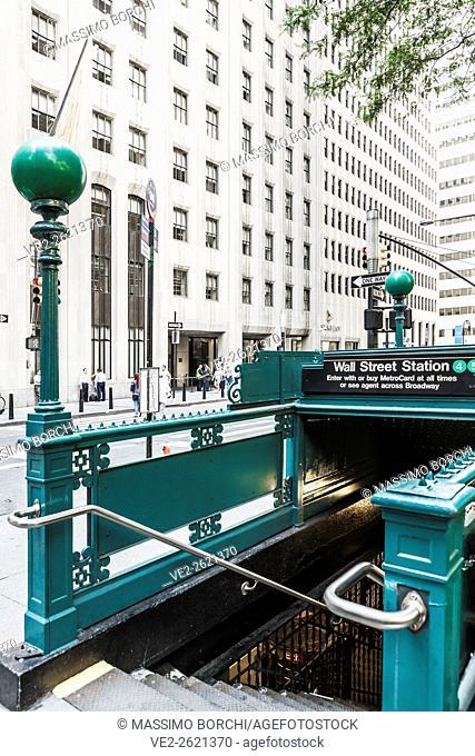 USA, New York, New York City. Manhattan, Lower Manhattan, the entrance of Wall Street Subway Station