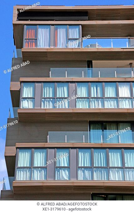 glass windows of apartment building, Sants district, Barcelona, Catalonia, Spain