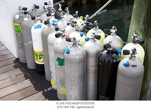 scuba air tanks lined up on jetty to be filled in harbour key west florida usa
