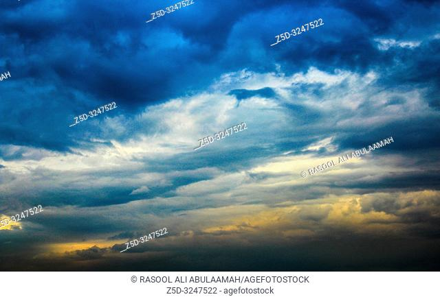 Baghdad, Iraq – March 14, 2014: photo for cloudy weather in Baghdad city in Iraq, and showing the clouds in the sky