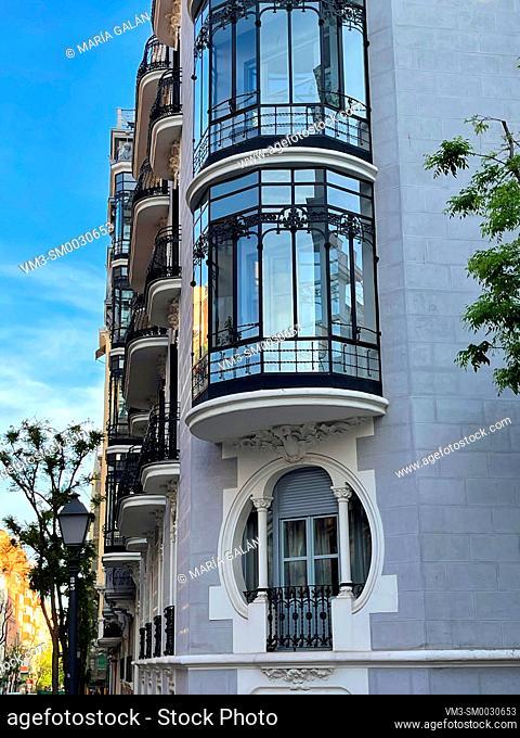 Facade of Art Nouveau house. Ayala street, Madrid, Spain