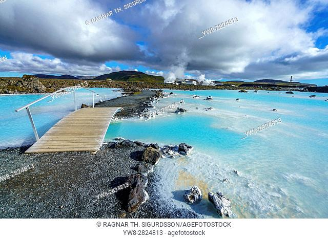 Walking path near The Blue Lagoon, geothermal hot springs, Iceland