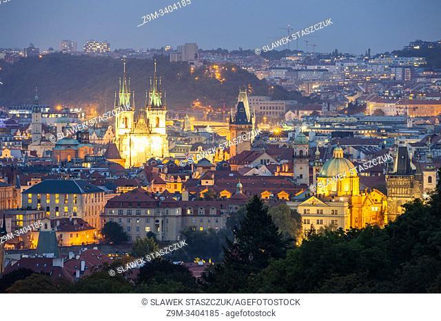 Night falls in Prague, Czechia