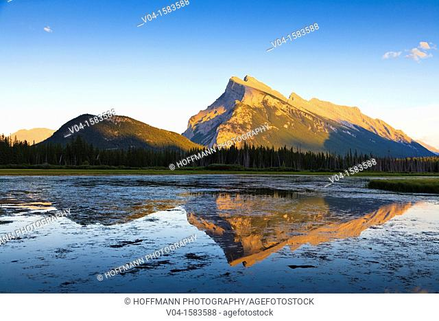 Mount Rundle and First Vermillion Lake at sunset in the Banff National Park, Alberta, Canada