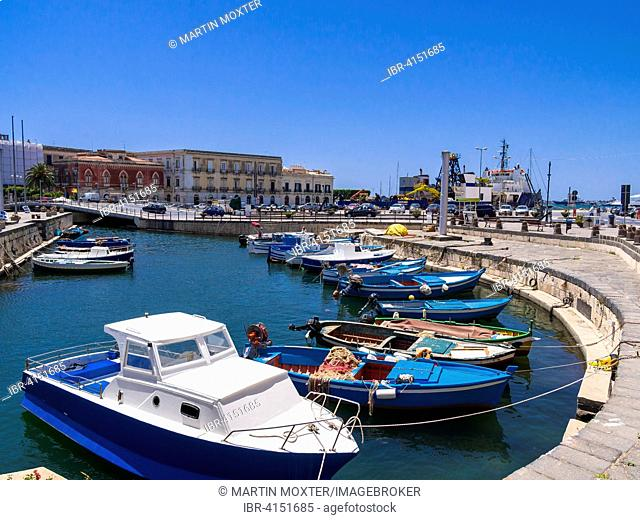 Boats in the harbour, Syracuse, Sicily, Italy