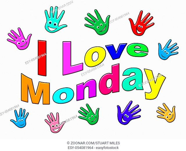 Monday Inspiration Quotes - Love Hand Faces - 3d Illustration