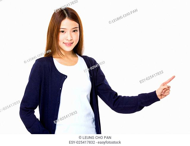 Attractive asian woman showing on white background
