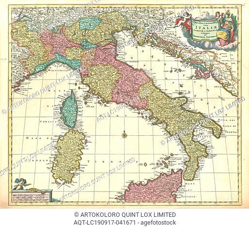 Map, Novissima et accuratissima totius Italiae Corsicae et Sardiniae descriptio, Theodorus Danckerts (1663-1727), Copperplate print