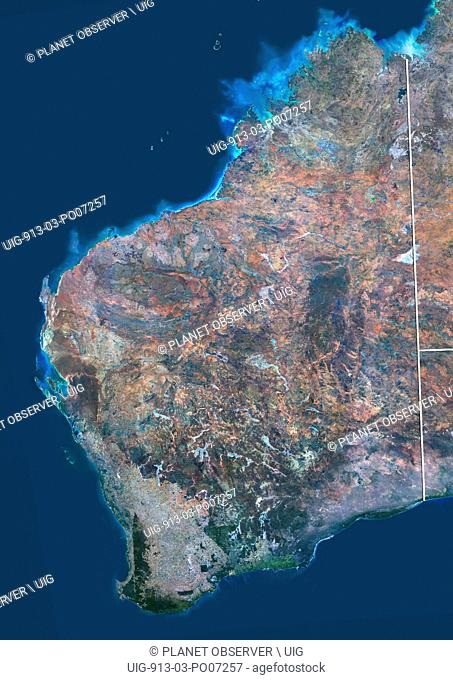 Satellite view of Western Australia (with administrative boundaries). This image was compiled from data acquired by Landsat 8 satellite in 2014