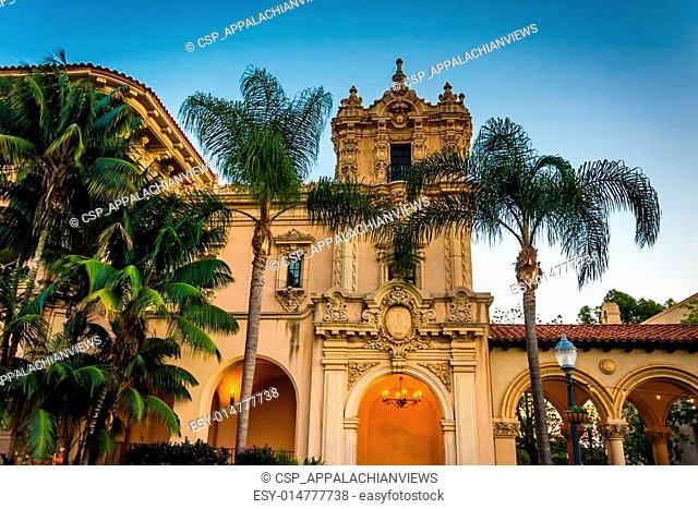 Building and palm trees at Balboa Park, in San Diego, California