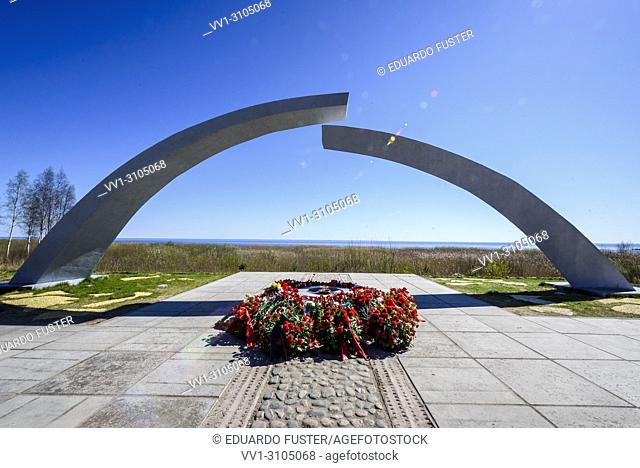 Broken ring monument in the Road of Life, dedicated to the blockade during II World War in Leningrad, St Petersburg, Russia