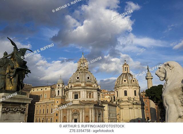 Churches of Santa Maria di Loreto (St. Mary of Loreto) and Santissimo Nome di Maria al Foro Traiano (Church of the Most Holy Name of Mary at the Trajan Forum)