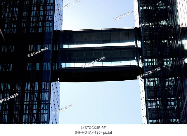 Two office buildings connected by skywalk, Munich, Bavaria, Germany