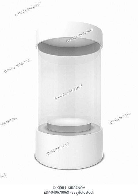 Cylinder showcase. 3d illustration isolated on white background