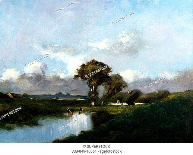 Along the River by Jules Dupre, oil on canvas, 1860, 1811-1889, USA, Pennsylvania, Philadelphia, David David Gallery