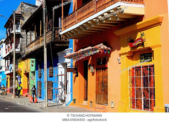 Republic Colombia, Departamento Bolivar, city of Cartagena de Indias, coloured houses in the part of town of Getsemani