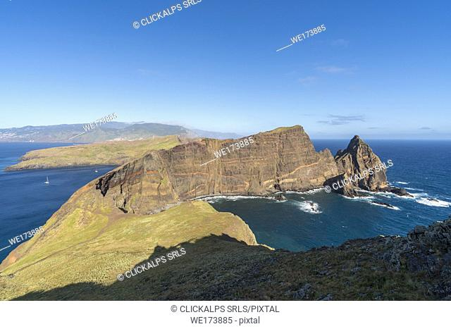 View of Ponta do Castelo from Point of St Lawrence. Canical, Machico district, Madeira region, Portugal