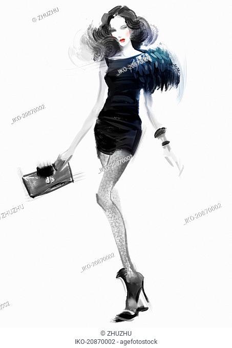 Beautiful fashion model wearing black mini dress