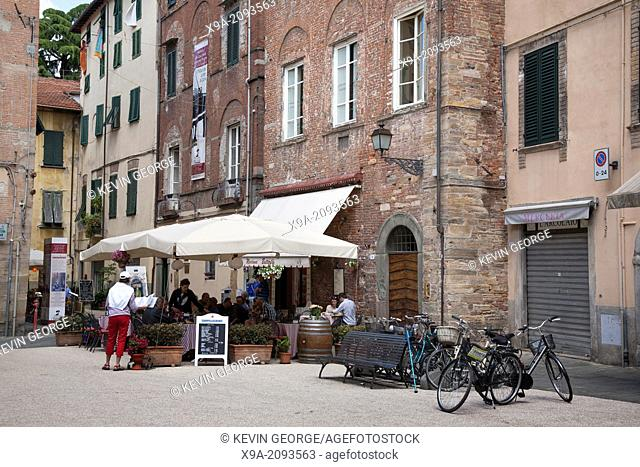 Restaurant and Terrace in San Cittadella Square, Lucca; Tuscany; Italy