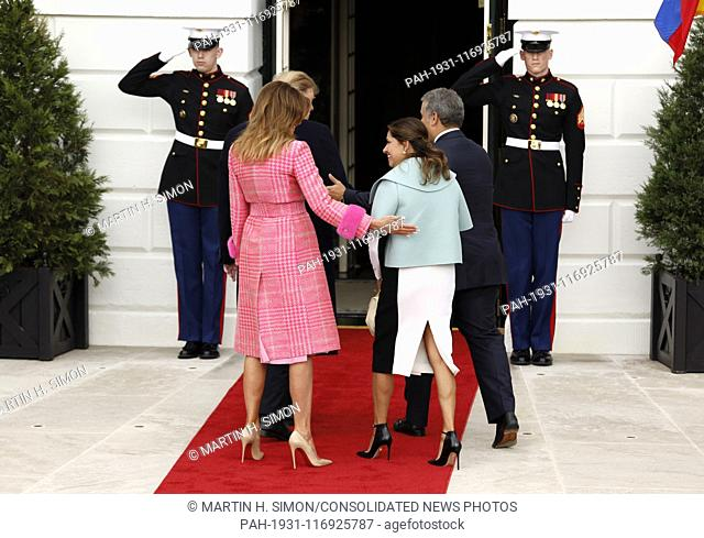 United States President Donald J. Trump and first lady Melania Trump welcome President Iván Duque of Colombia and his wife