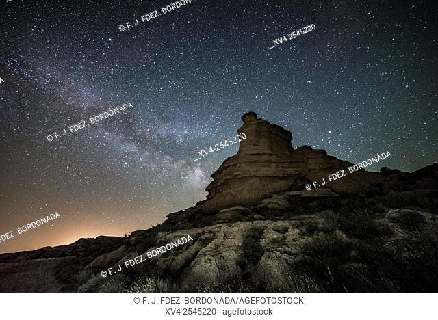 Milky way over Monegros desert. Huesca, Aragon, Spain