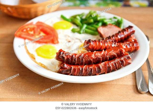 plate with fried eggs, sausages