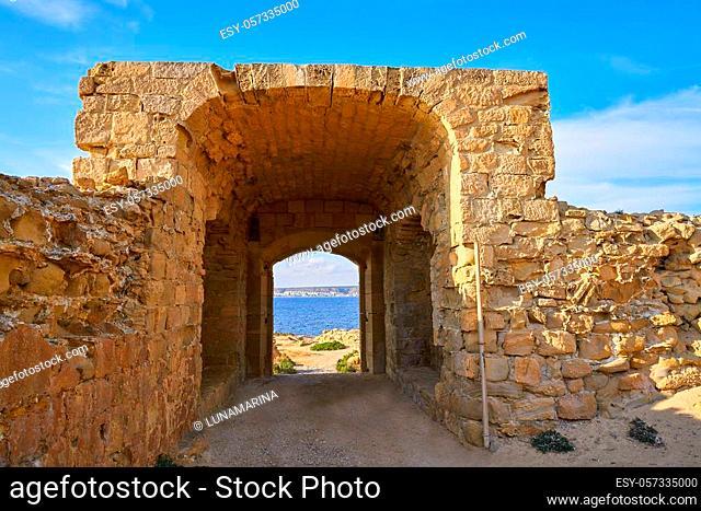 Fortress arch door in Nova Tabarca island of Alicante Spain