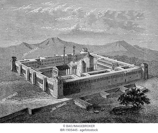Diocletian's Palace in Salona, today Solin, Croatia, woodcut from 1880