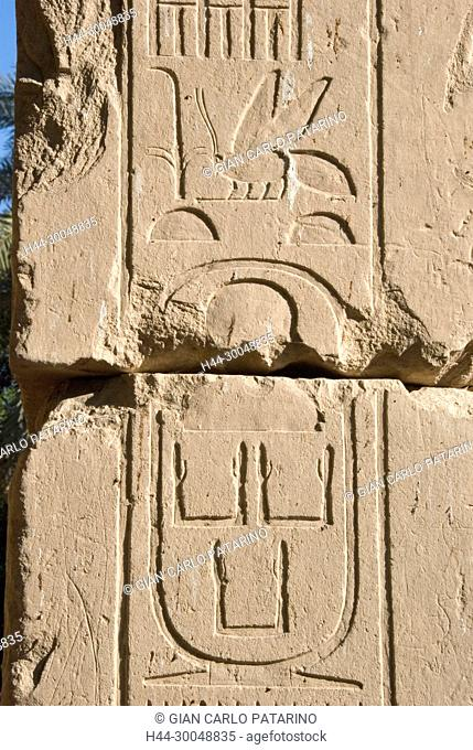 Karnak, Luxor, Egypt. Temple of Karnak sacred to god Amon: a cartouche carved in a wall of the king Sesostris III Khakaura, Middle Kingdom (1991-1783)