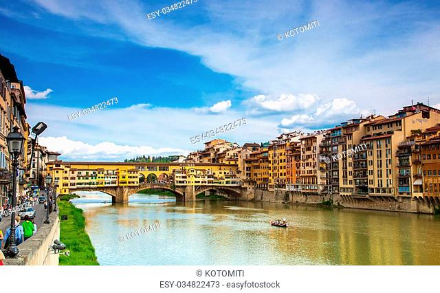 river embankment of Arno and Gold (Ponte Vecchio) of Bridge in Florence