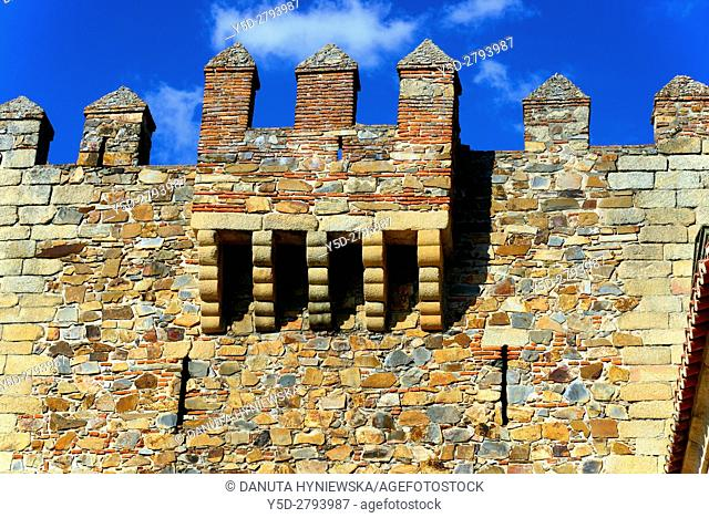 part of Bujaco Tower, Plaza Mayor, Old Town of Caceres, UNESCO World Heritage, Extremadura, Spain, Europe
