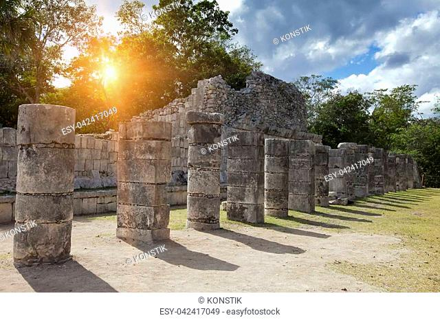 Hall of the Thousand Pillars - Columns at Chichen Itza, Mexico