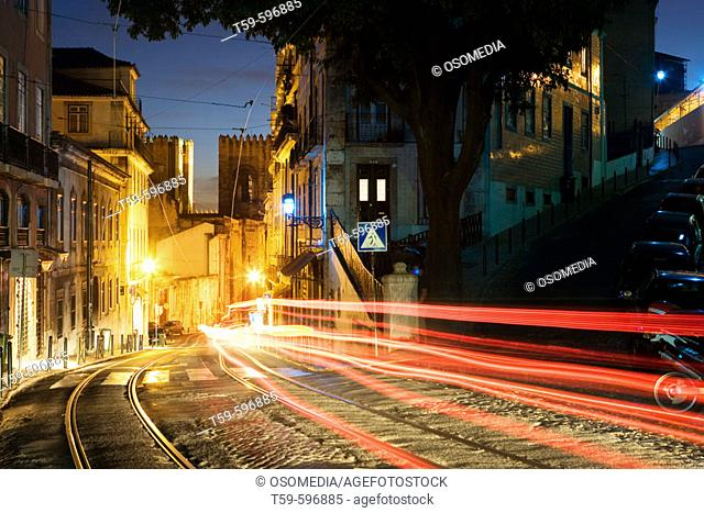 Night view of the area behind the cathedral in Alfama quarter, Lisbon. Portugal
