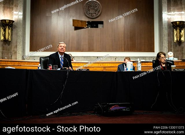 United States Senator Lindsey Graham (Republican of South Carolina), Chairman, US Senate Judiciary Committee joined by US Senator Dianne Feinstein (Democrat of...