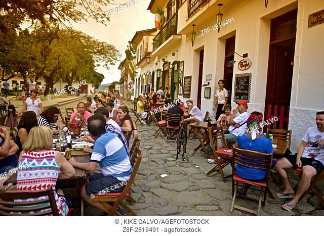 Locals and tourists enjoying the Historic Center District. Paraty. Brazil