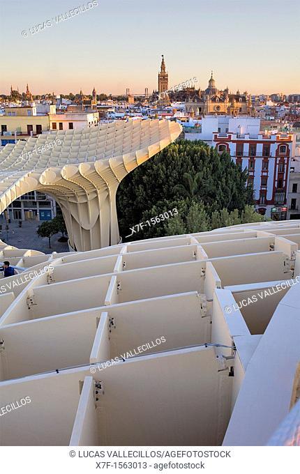 Top of Metropol Parasol, in background the cathedral,from Plaza de la Encarnación,Sevilla,Andalucía,Spain