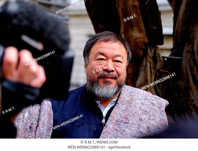 Anish Kapoor and Ai Weiwei leaving The Royal Acadamy of Arts, carrying blankets on a walk to raise awareness for the refugee crisis