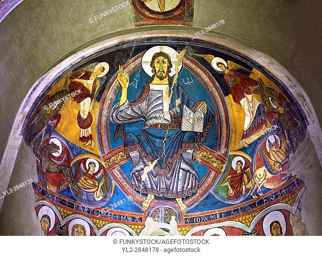 Romanesque frescoes from the Church of Sant Clement de Taull, Vall de Boi, Alta Ribagorca, Spain. Painted around 1123 depicting Christ Pantocrator or In Majesty