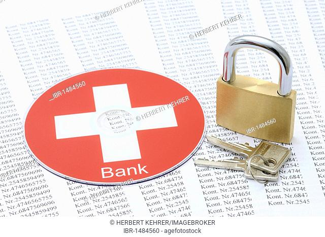 Bank accounts, DVD, CD, symbolic image for bank secrecy, bank records, tax evasion, data privacy